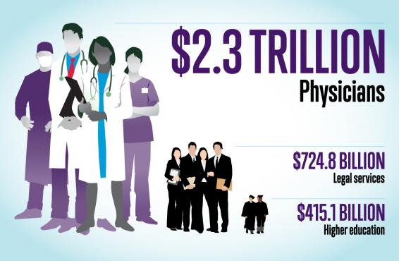 Overall economic output of physicians, lawyers, and higher education graphic