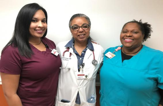 Gena Allenby, Elizabeth Philippe, MD, and Carine Astree of Community Health of South Florida Inc.