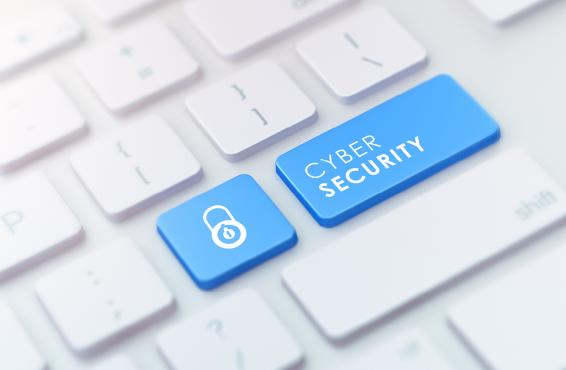 Two blue buttons on a computer keyboard - one with a lock sign, one with the words 'Cyber Security'.