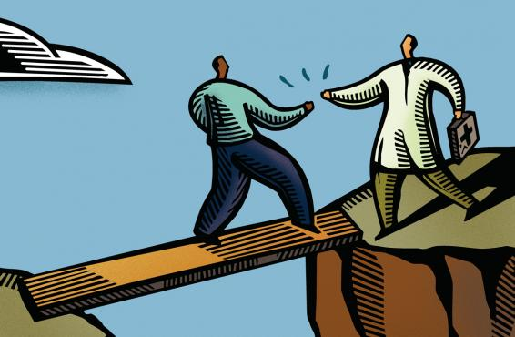 Cartoon picture of a doctor helping a patient cross a bridge.