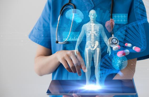 Medical professional in front of hologram
